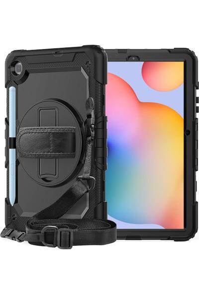 "HyperCep Samsung Galaxy Tab A7 T500 Kılıf 10.4"" T505 T507 Tank Defender 360 Dönebilen Askılı Tablet Kılıfı"