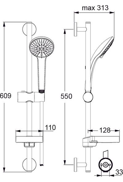 Ideal Standard Rain 100 Sürgülü Duş Seti