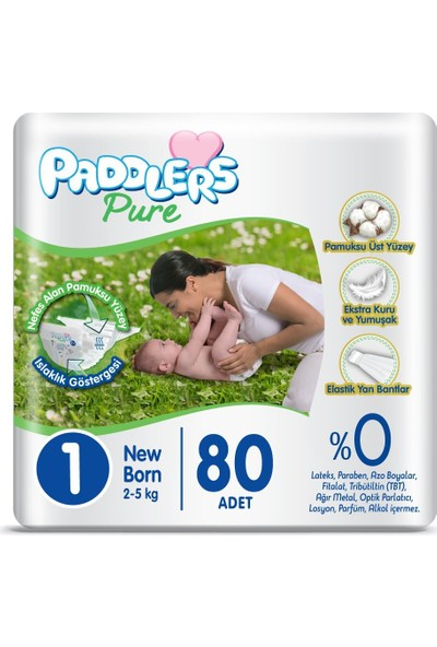 Paddlers Pure 1 Numara Newborn x 80 (2-5 Kg) Jumbo Paket