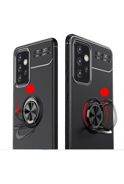 Kılıfplus Samsung Galaxy A72 Kılıf Auto Focus Serisi Soft Standlı Yüzüklü Kapak - Kırmızı - Siyah