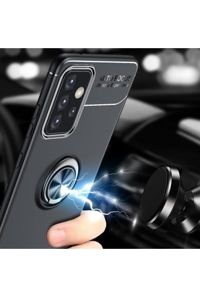 Kılıfplus Samsung Galaxy A72 Kılıf Auto Focus Serisi Soft Standlı Yüzüklü Kapak - Siyah