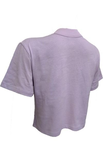 Kadın Düz Renk Yuvarlak Yaka Kısa Kollu Pamuklu Crop T-Shirt