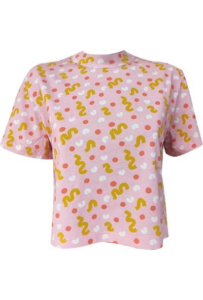 Kadın Renkli Yuvarlak Yaka Kısa Kollu Pamuklu Crop T-Shirt