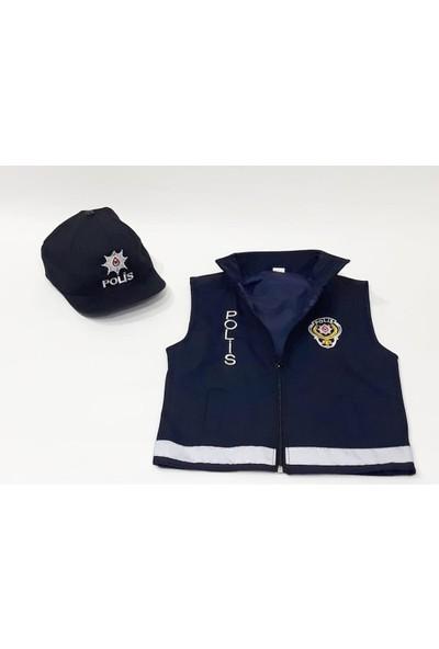 Uğur Böceği Çocuk Çocuk Polis Şapka ve Yeleği Kiyafeti Kostümü Üniforması