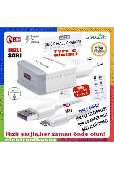 Syrox Elephone P9000 Uyumlu Type-C Girişli Hızlı Şarj Cihazı Seti Adaptör+Kablo Q32 3.0A Beyaz