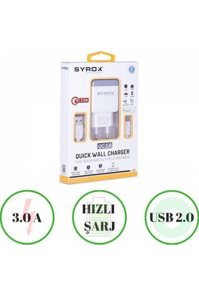 Syrox Htc U11+ Plus Uyumlu Type-C Girişli Hızlı Şarj Cihazı Seti Adaptör+Kablo Q32 3.0A Beyaz