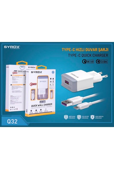 Syrox Huawei Mate 20 Pro Uyumlu Type-C Girişli Hızlı Şarj Cihazı Seti Adaptör+Kablo Q32 3.0A Beyaz