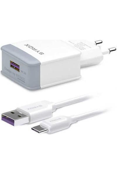 Syrox Moto G7 Plus Uyumlu Type-C Girişli Hızlı Şarj Cihazı Seti Adaptör+Kablo Q32 3.0A Beyaz