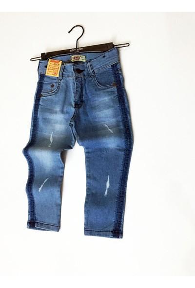 Beren Cemix Unisex Çocuk Mavi Şerit Baskılı Pantolon