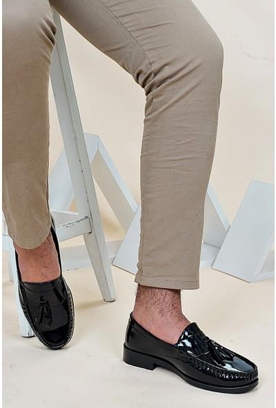 Ayakkabı Bahçesi Corcik Model Siyah Rugan Püsküllü Klasik Erkek Ayakkabı