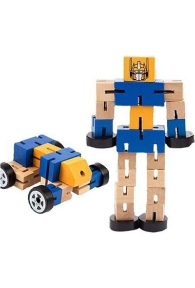 Ayas Eğitici Oyuncak Ahşap Arabaya Dönüşen Robot Büyük Boy 2'li Set