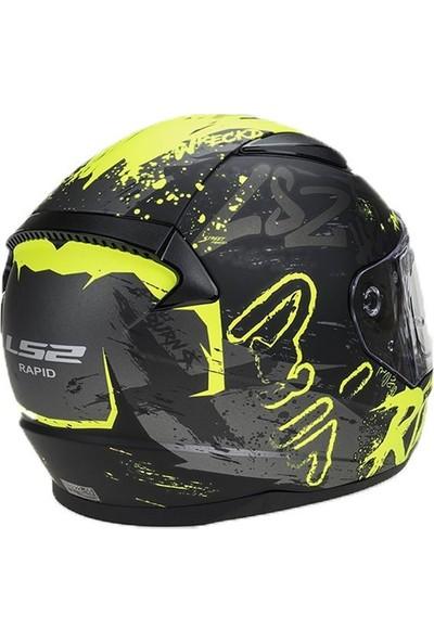 Ls2 Rapıd Naughty Mat Siyah-Neon Sarı Kask 2020 Grafik