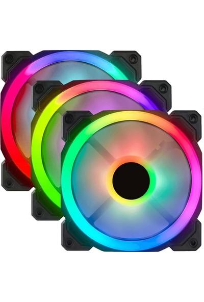 Gametech 7r Pro Seri (3'lü Set) Rainbow Ledli Sessiz 120MM 12CM Kasa Fanı