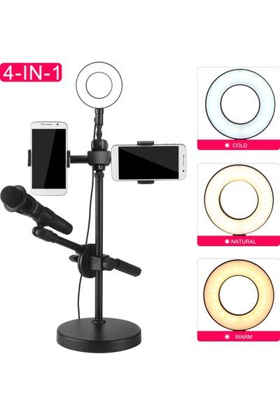 Anself Telefon Tutucu ve Mikrofon ile Özçekim Halka Işık Standı