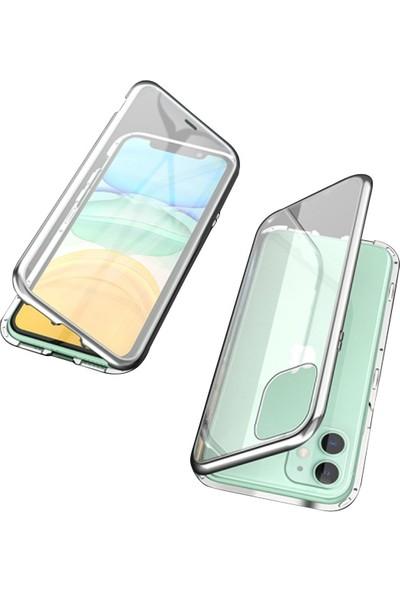 Ally Apple iPhone 11 Mıknatıslı 360 Derece Ön ve Arka Cam Full Korumalı Manyetik Kılıf Gri