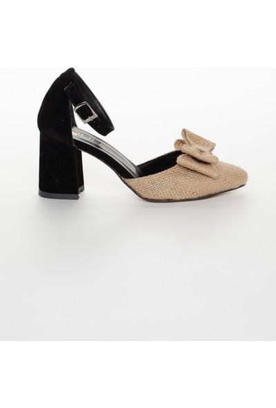 Zulu Kadın Kalın Kısa Topuklu Papyonlu Yazlık Ayakkabı Siyah Hasırlı