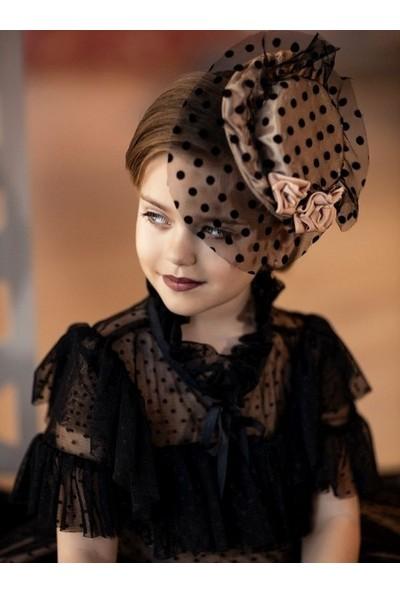 Riccotarz Kız Çocuk Noble Beaute Şapkalı Siyah Elbise