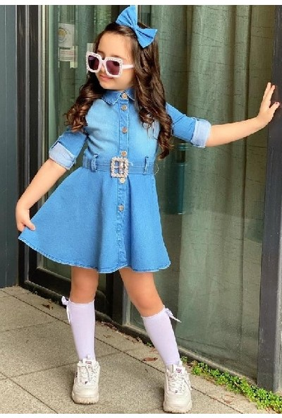 Riccotarz Kız Çocuk New Denim Elbise