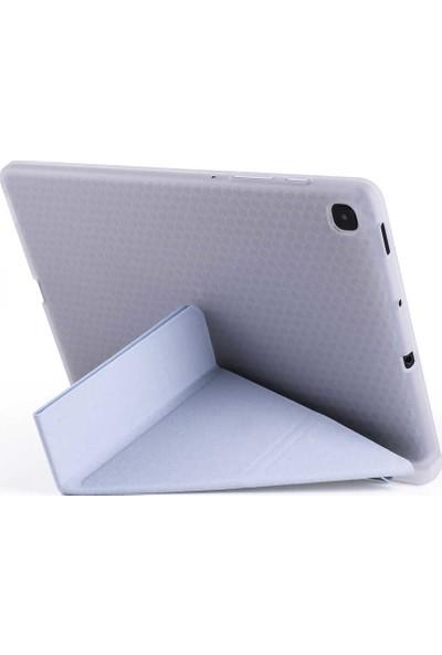 """Aşksesuar Samsung Galaxy Tab S6 Lite P610 10.4"""" Kılıf Kalem Bölmeli Smart Tri Folding Standlı Pu Deri Arkası Yumuşak Silikon Kılıf +Nano Ekran Koruyucu+Kalem Mor"""