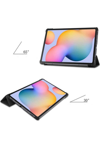 """Aşksesuar Samsung Galaxy Tab A7 10.4 T500 (2020)"""" Kılıf Standlı Uyku Modlu Smart Cover Akıllıtablet Kılıfı + Nano Kırılmaz Ekran Koruyucu+Kalem Mor"""