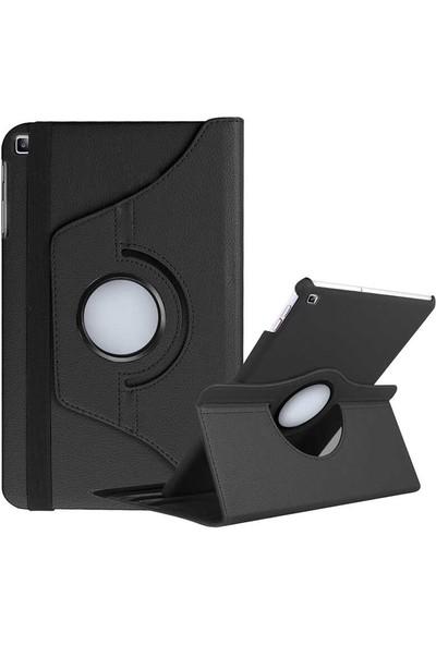 Aşksesuar Samsung Galaxy Tab A7 10.4 T500 (2020) Kılıf 360° Dönen Standlı Pu Deri Tablet Kılıfı + Nano Ekran Koruyucu+Kalem Siyah
