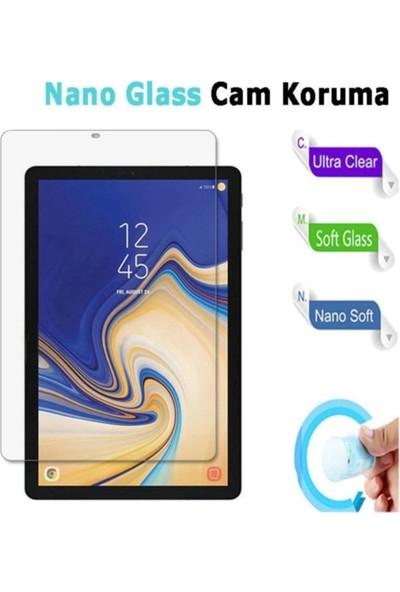 Aşksesuar Samsung Galaxy Tab A7 10.4 T500 (2020) Kılıf Kalem Bölmeli Smart Tri Folding Standlı Pu Deri Arkası Yumuşak Silikon Kılıf +Nano Ekran Koruyucu+Kalem Açık Yeşil
