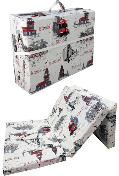 Vip Home Concept Tek Kişilik Katlanır Yer Yatağı Sünger Yatak Katlanır Yatak 80X180 cm Istanbul Desen