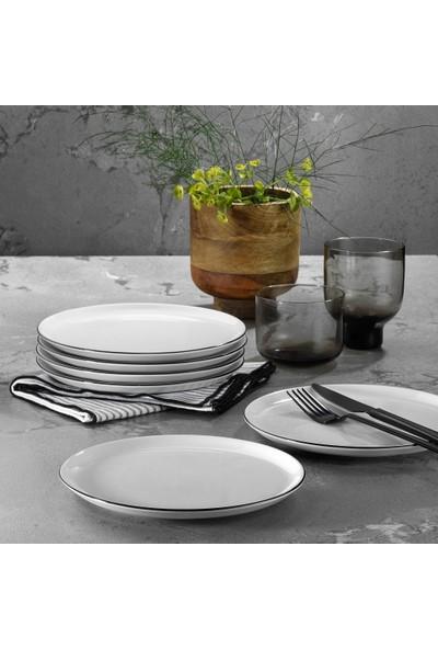 Porland 6'lı Modern Siyah Fileli Pasta Tabağı Seti