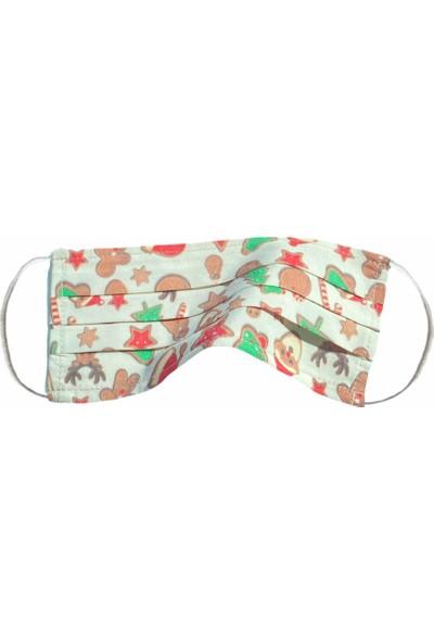 Global Mask Noel Baba Yetişkin Maske - Telli - Yıkanabilir