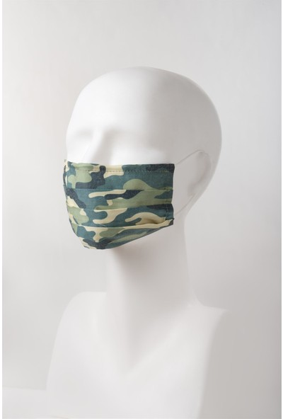 Global Mask Kamuflaj Desenli Yetişkin Maske - Telli - Yıkanabilir