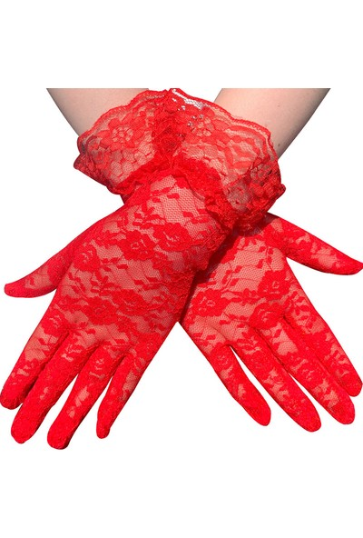 Samur Güpürlü Bilek Boyu Kırmızı Dantel Eldiven Yetişkin
