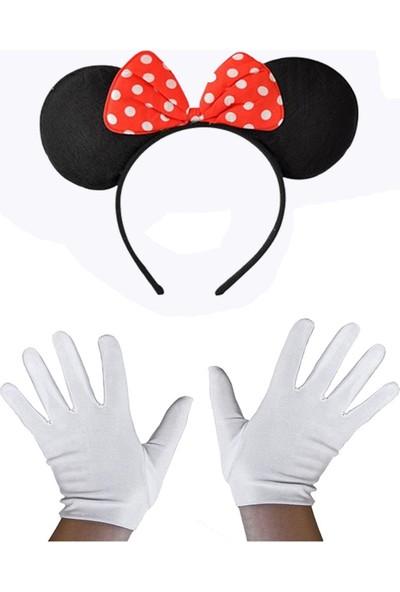 Samur Kırmızı Fiyonklu Minnie Mouse Tacı ve Beyaz Eldiven Seti