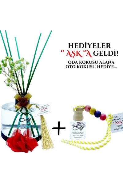 Aşk-ı Sermest Ölümsüz Aşk Çiçek Serisi Kırmızı Gül Kokulu 5 x 200 ml Silindir Şişe Bambu Çubuklu Ortam Kokusu