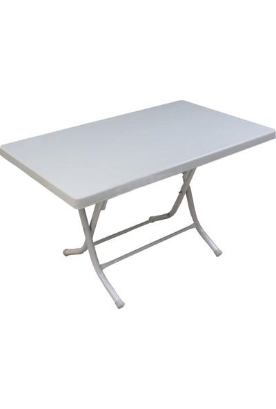 Romanoset Plastik Romanoset 70X120 cm Metal Ayaklı Plastik Katlanır Beyaz Bahçe ve Balkon Masası