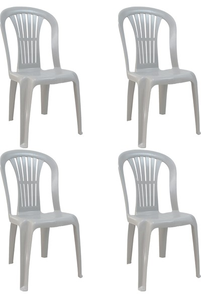 Romanoset Plastik Romanoset Selin Kolsuz Plastik Balkon ve Bahçe Sandalyesi 4 Lü Set