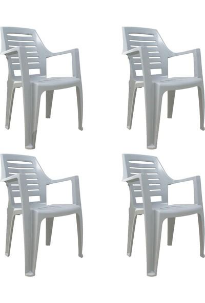 Romanoset Plastik Romanoset Millenyum Kırık Beyaz Kollu Plastik Sandalye 4 Lü Set