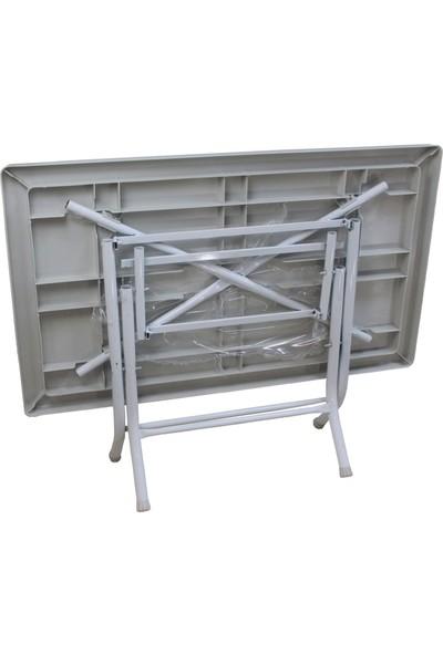 Romanoset Plastik Romanoset 70X120 cm Katlanır Balkon ve Bahçe Masa Takımı 4 Sandalyeli