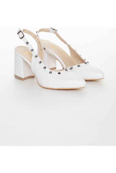 Zulu Kadın Taşlı Beyaz Klasik Kalın Kısa Topuklu Yazlık Ayakkabı