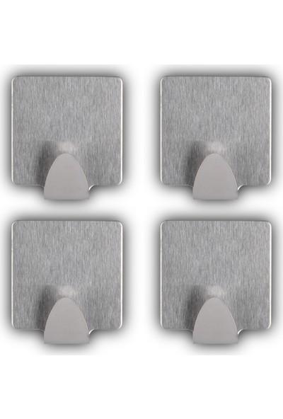 Big Store Pratik Yapışkanlı Kare Duvar Askısı Paslanmaz Çelik Kancalı 4'lü Set