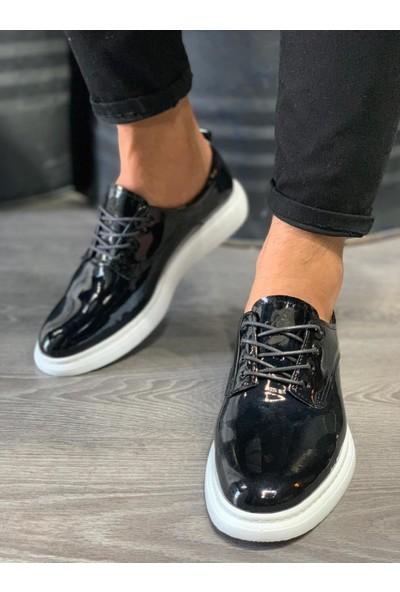 Orya Knack Klasik Erkek Ayakkabı 001 Siyah Rugan (Beyaz Taban)
