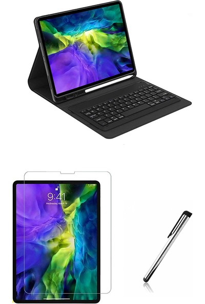 "Moserini iPad Pro 11 2020 A1980, A2013, A1934, A1979 11"" Inç Klavyeli, Smart Tablet Kılıfı, Mıknatıslı, Kalemlikli - Siyah + Cam Ekran Koruyucu + Kalem, Set!"