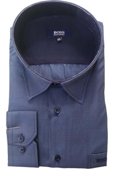 Boss Erkek Büyük Beden Uzun Kollu Kare Desenli Tek Cepli Gömlek