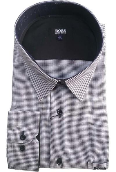 Boss Erkek Büyük Beden Uzun Kollu Kazayağı Desenli Tek Cepli Gömlek