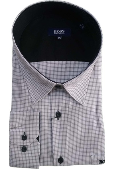 Boss Erkek Büyük Beden Uzun Kollu Kareli Desenli Tek Cepli Gömlek
