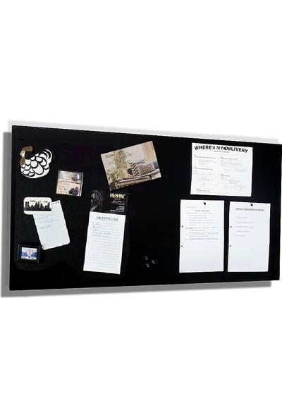 Dünya Magnet Mıknatıslı Pano Siyah Dekoratif Metal Magnet Panosu 75 x 35 cm