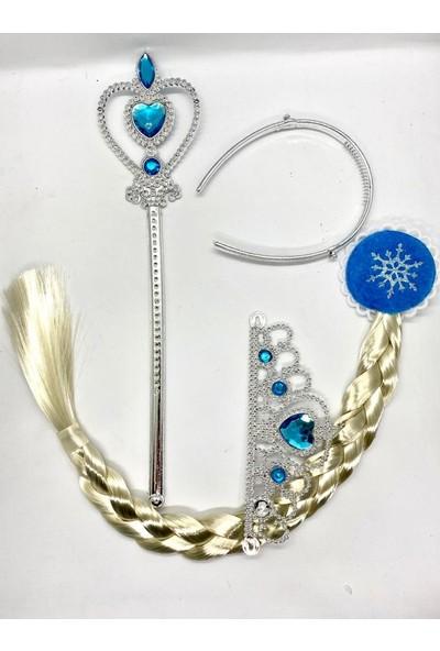 Brs Frozen Elsa Müzikli Bebek ve Olaf - Elsa Taç Saç ve Asa Seti