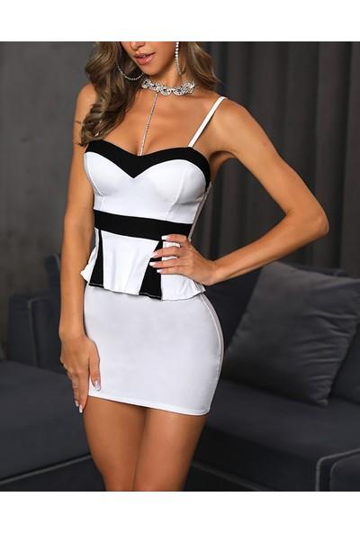 Ergü Siyah Beyaz Garnili Halter Yaka Askılı Kadın Etek Bluz Takım ERGÜ1433-2