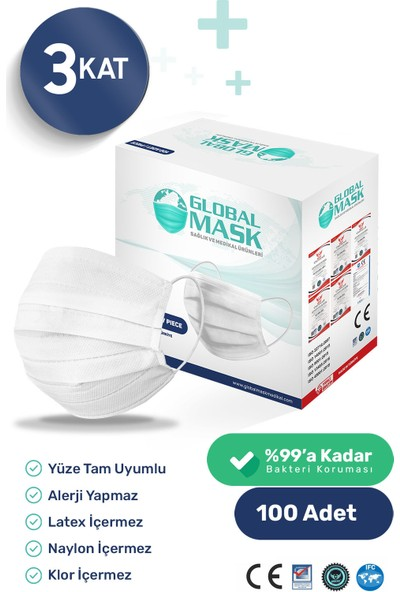 Global Mask 3 Katlı Ultrasonik Cerrahi Maske 100 Adet