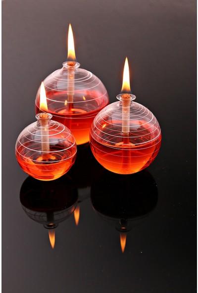 Vetroce Hareli Küre Cam Kandil 3'lü +450 ml Kandil Yağı