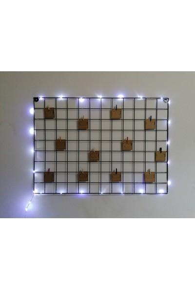 Onigi Tasarım Beyaz Işıklı Tel Pano - Metal Duvar Panosu - Fotoğraflık - Mandallı